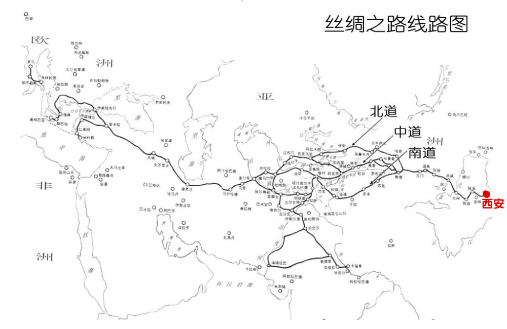 有关丝绸之路的图片_关于丝绸之路路线图的图片-丝绸之路的路线图,最好有图片资料